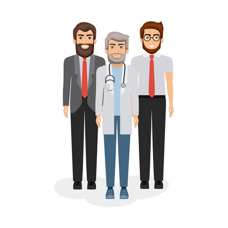 white background with manager and doctors vector illustration