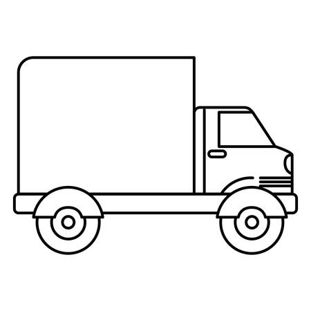 truckload: black silhouette of truck with wagon vector illustration