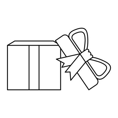 black silhouette of opened gift box with decorative ribbon and topknot vector illustration Illustration