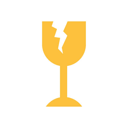 white background with fragile packaging symbol broken wine glass vector illustration