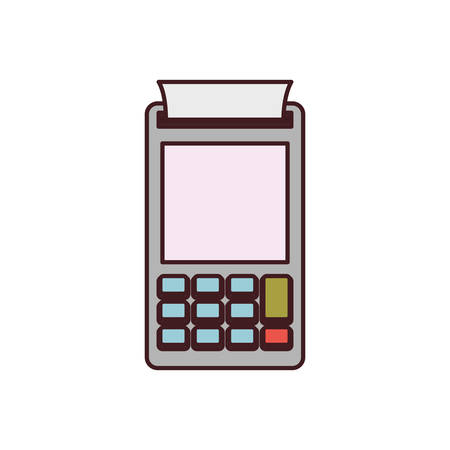 silhouette contour: color silhouette with payment terminal and black contour vector illustration