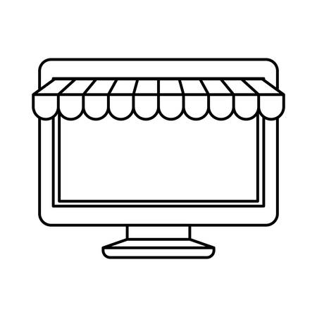 pc icon: black silhouette of desktop computer online store vector illustration