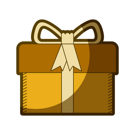 yellow aged silhouette of gift box with decorative ribbon and topknot vector illustration
