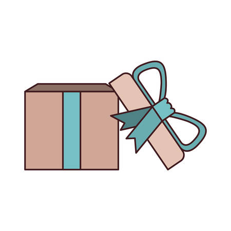 colorful opened gift box with decorative ribbon and topknot with black contour vector illustration Illustration