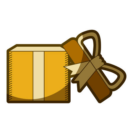 yellow aged silhouette of opened gift box with decorative ribbon and topknot vector illustration Illustration