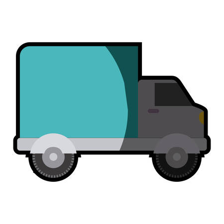 white background with truck with wagon and half shadow vector illustration Illustration