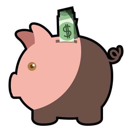 colorful silhouette of moneybox in shape of pig with dollar bill and half shadow vector illustration