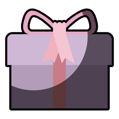 colorful gift box with decorative ribbon and topknot with half shadow vector illustration