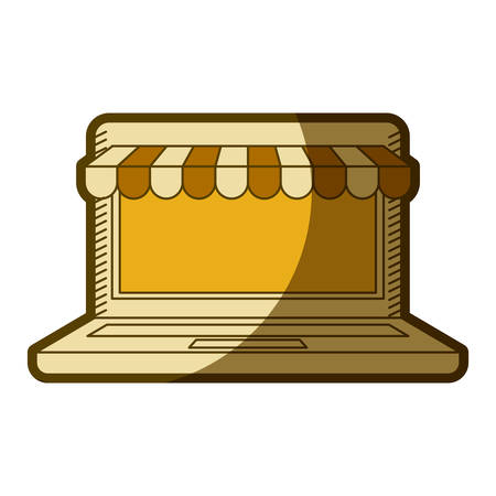 yellow aged silhouette of laptop computer online store vector illustration