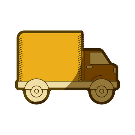 yellow aged silhouette of truck with wagon vector illustration Illustration