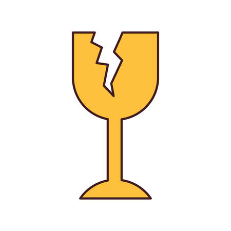 white background with fragile packaging symbol broken wine glass with thin contour vector illustration