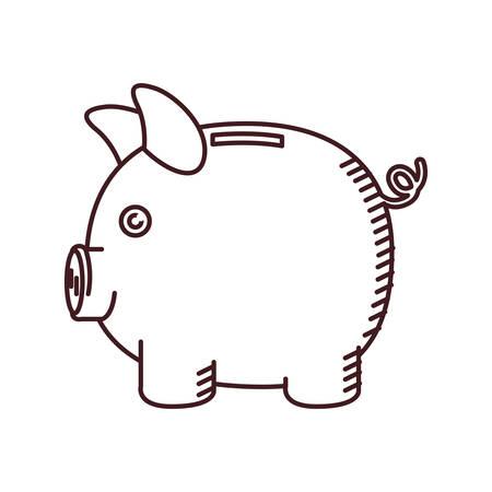 monochrome silhouette of moneybox in shape of pig vector illustration Illustration