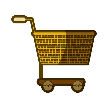 yellow aged silhouette of shopping cart vector illustration