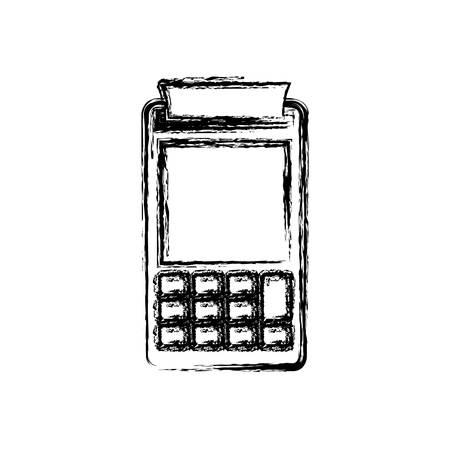 支払ターミナルのベクトル イラストの白黒のぼやけたシルエット