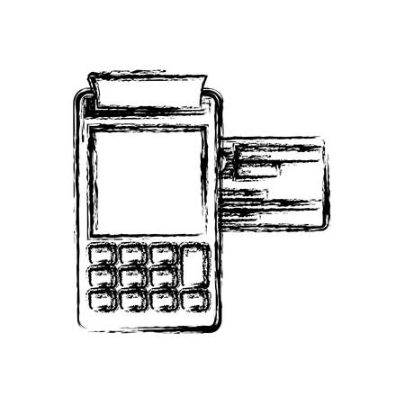 monochrome blurred silhouette of payment terminal with credit card vector illustration Illustration