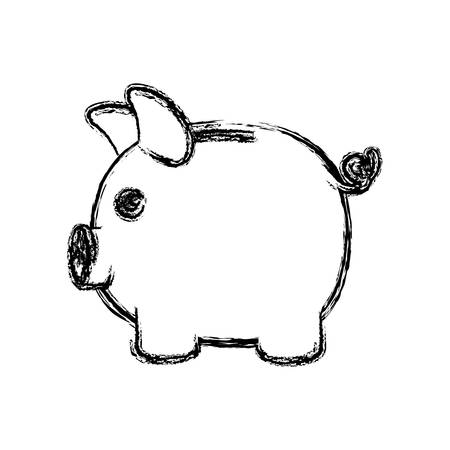 monochrome blurred silhouette of moneybox in shape of pig vector illustration Illustration