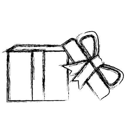 monochrome blurred silhouette of opened gift box with decorative ribbon and topknot vector illustration