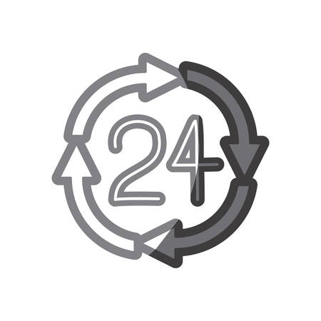 grayscale silhouette of 24 hours arrow circle icon vector illustration Illustration