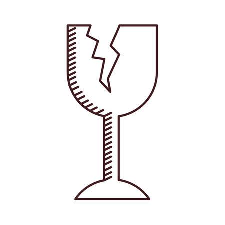 ワイングラスのベクトル図が壊れて壊れやすい包装記号のモノクロ シルエット