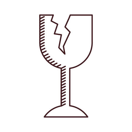 monochrome silhouette of fragile packaging symbol broken wine glass vector illustration Çizim