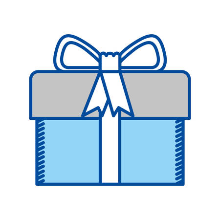 blue contour of gift box with decorative ribbon and topknot vector illustration Illustration