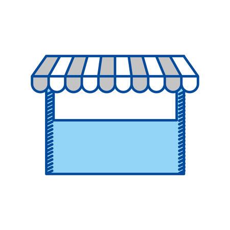shopping center interior: blue contour of store icon vector illustration Illustration