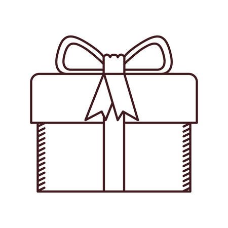 monochrome silhouette of gift box with decorative ribbon and topknot vector illustration