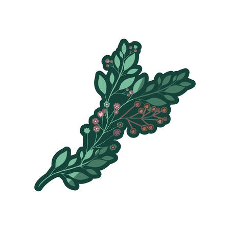 colorful thick contour of branch with leaves and small flowers in light colors vector illustration