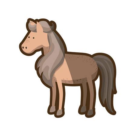 yegua: marrón claro silueta de caballo con melena y la cola gris ilustración vectorial