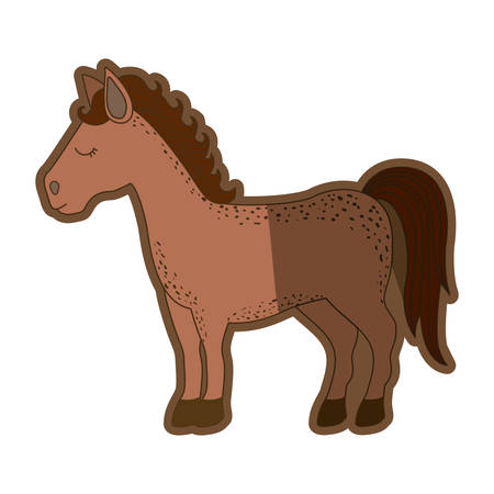 brown clear silhouette of cartoon horse standing vector illustration