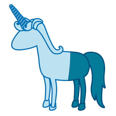 blue silhouette of cartoon faceless unicorn standing with mane vector illustration Illustration