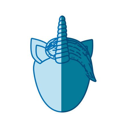 blue silhouette of front face caricature faceless unicorn vector illustration Illustration