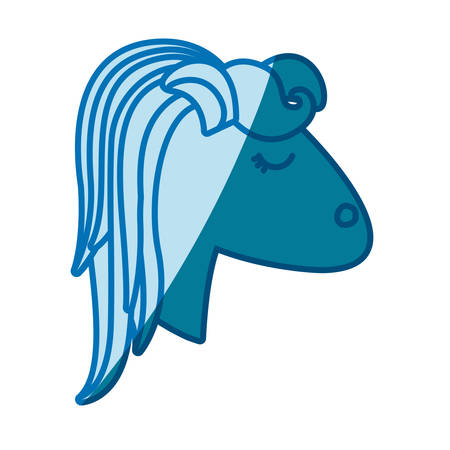 blue silhouette of face side view of female horse with striped mane vector illustration