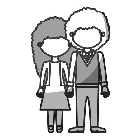 silhouette monochrome shading faceless curly couple woman with dress and man with bowtie and taken hands vector illustration