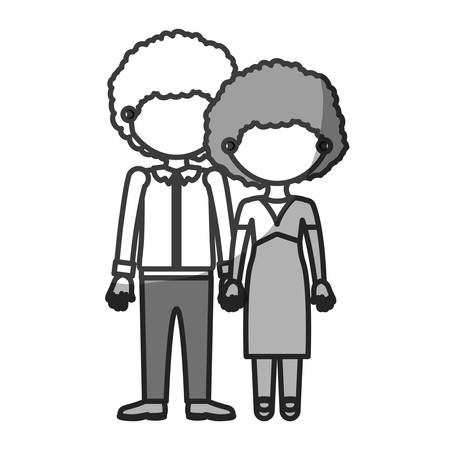 silhouette monochrome shading faceless curly couple taken hands vector illustration