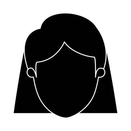 silhouette black faceless closeup front view woman with short straigth hair vector illustration