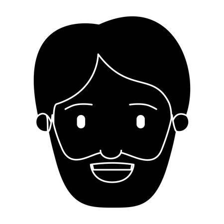 silhouette black front view face man bearded vector illustration