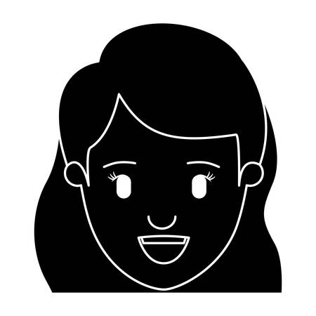 silhouette black front view face closeup woman with wavy side hair vector illustration Illustration