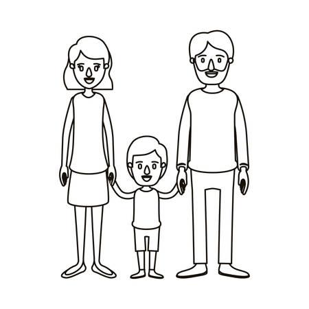 Silhouette Karikatur Familie Mit Vater Bärtig Und Mutter Mit Kurzen ...