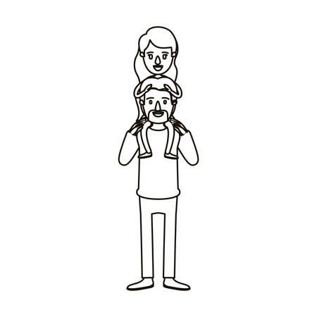 silhouette caricature bearded father with moustache and girl on his back vector illustration