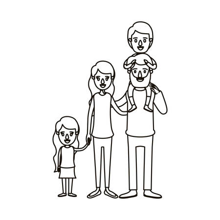 affection: silhouette caricature big family parents with boy on his back and daugther taken hands vector illustration