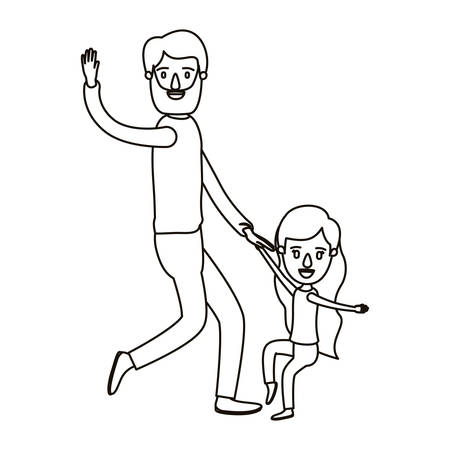 Lichtfarbe Karikatur Gesichtslosen Bärtigen Vater Mit Mädchen Tanzen ...