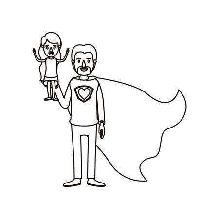 silhouette cartoon full body super dad hero with girl on his hand vector illustration