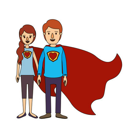 colorful silhouette cartoon full body couple super hero with heart symbol in uniform vector illustration Illustration