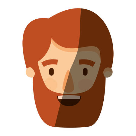 color image shading caricature front view bearded man with moustache and hairstyle vector illustration
