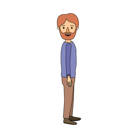 color image caricature full body man bearded looking to side vector illustration