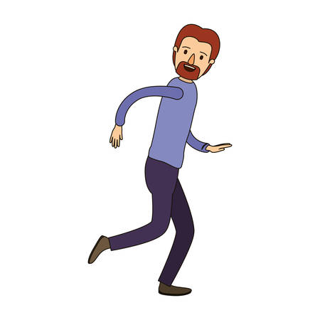 running nose: color image caricature full body male person with beard and moustache running vector illustration Illustration