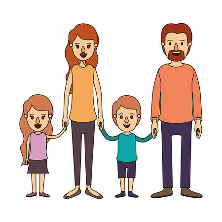 group of young adults: Color image caricature family group with parents and children taken hands vector illustration