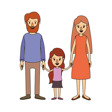 affection: color image caricature family with father bearded and mom with long hair with little girl taken hands vector illustration