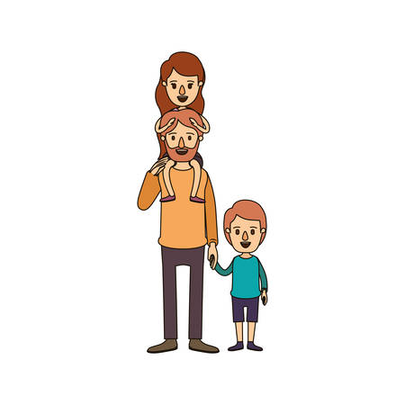 color image caricature bearded father with girl on his back and boy taken hands vector illustration Illustration